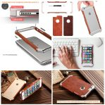 Wooden Leather Back and Aluminium Border Case for Iphone 6 / 6s / 6 Plus / 6s Plus